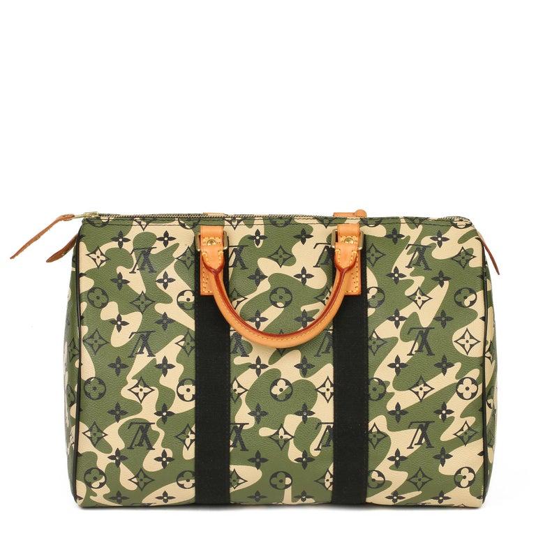 Louis Vuitton Green Monogramouflage Coated Canvas Murakami Speedy 35  In Excellent Condition For Sale In Bishop's Stortford, Hertfordshire