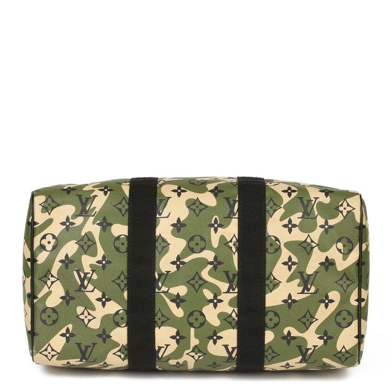 Men's Louis Vuitton Green Monogramouflage Coated Canvas Murakami Speedy 35  For Sale