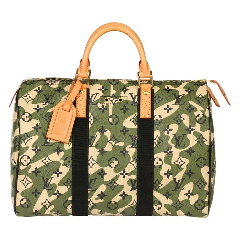 Louis Vuitton Green Monogramouflage Coated Canvas Murakami Speedy 35  For Sale