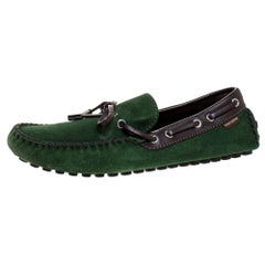 Louis Vuitton Green Suede Leather Bow Loafers Size 41