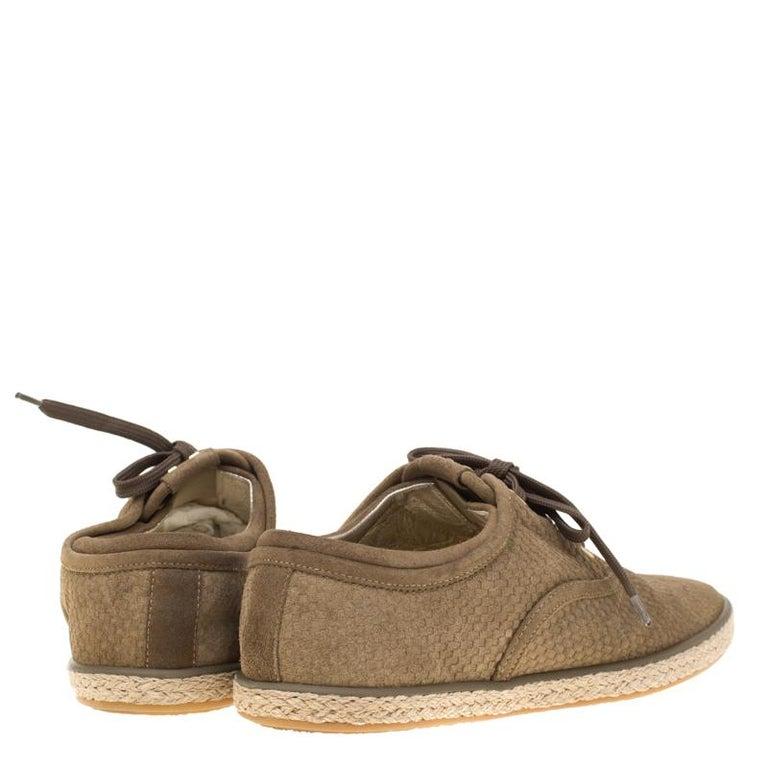 Louis Vuitton Green Suede Petit Damier Espadrilles Sneakers Size 38 In Good Condition For Sale In Dubai, Al Qouz 2
