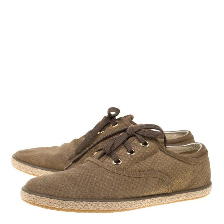 Louis Vuitton Green Suede Petit Damier Espadrilles Sneakers Size 38 For Sale 2