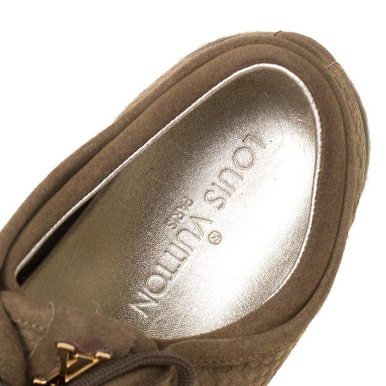 Louis Vuitton Green Suede Petit Damier Espadrilles Sneakers Size 38 For Sale 3