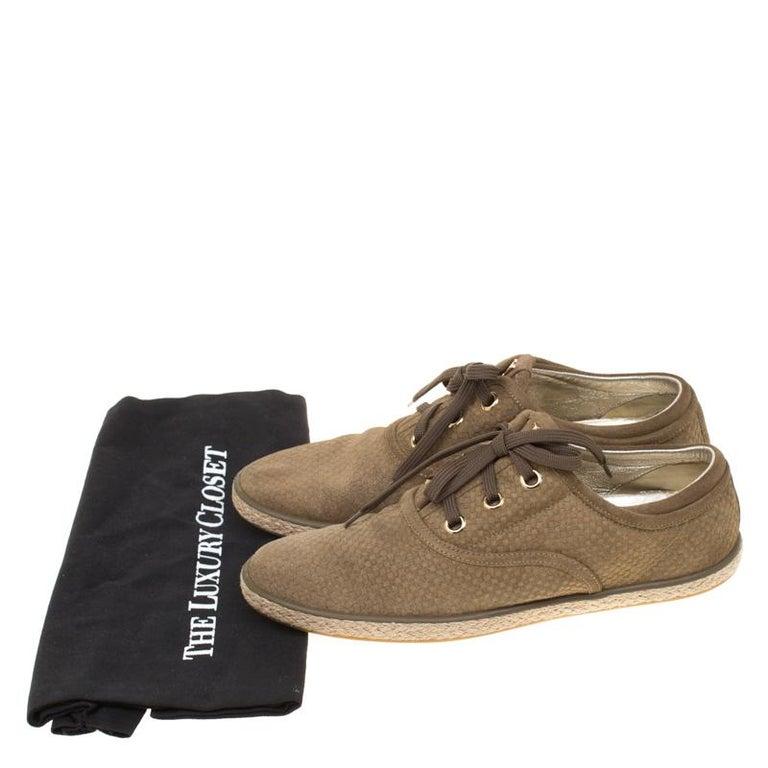 Louis Vuitton Green Suede Petit Damier Espadrilles Sneakers Size 38 For Sale 4