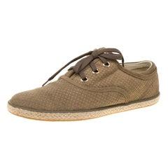 Louis Vuitton Green Suede Petit Damier Espadrilles Sneakers Size 38
