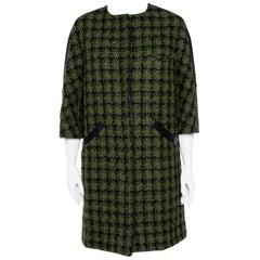 Louis Vuitton Green Tweed & Leather Trim Coat M