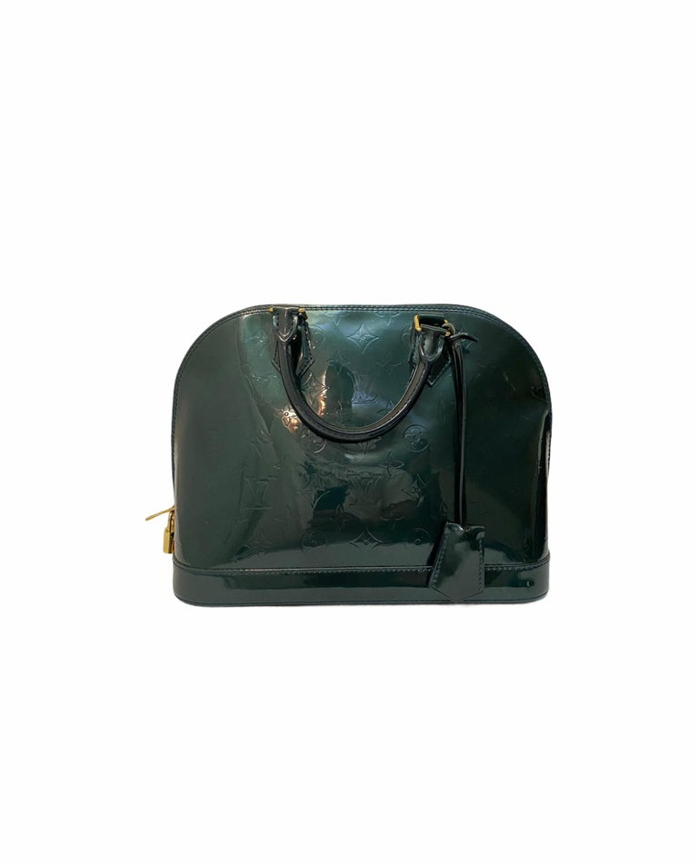 Louis Vuitton Green Vernice Alma MM Bag In Good Condition For Sale In Torre Del Greco, IT