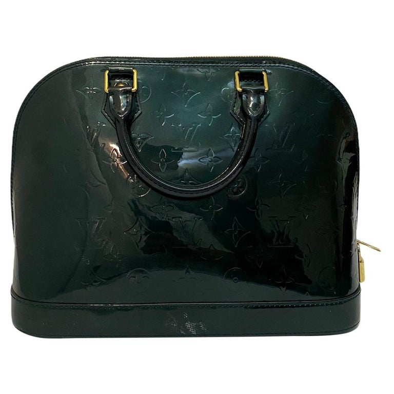 Louis Vuitton Green Vernice Alma MM Bag For Sale