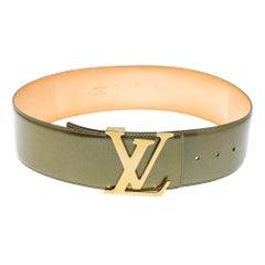 Louis Vuitton Green Vernis Leather LV Initiales Wide Belt 75 CM