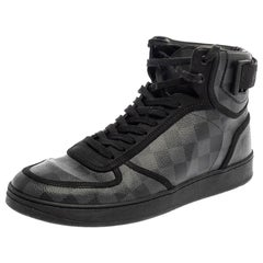 Louis Vuitton Grey/Black Damier Graphite Canvas Rivoli High Top Sneakers Size 42