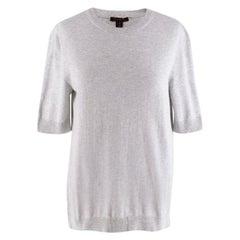 Louis Vuitton Grey Cotton Knit Short Sleeve Sweater  - Size XS