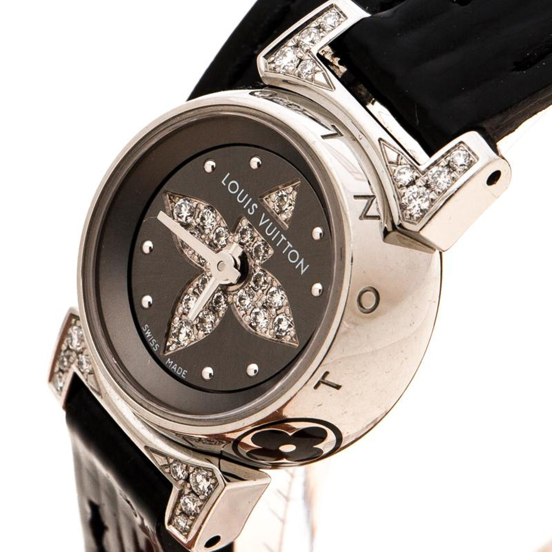 32b463851a71 Louis Vuitton Grey Diamond Tambour Bijou Q151K Women s Wristwatch 18 mm For  Sale at 1stdibs