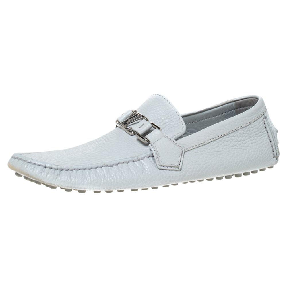 Louis Vuitton Grey Leather Hockenheim Logo Detail Slip On Loafers Size 41
