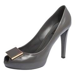 Louis Vuitton Grey Leather Logo Embellished Peep Toe Platform Pumps Size 38.5