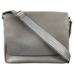 LOUIS VUITTON Grey Leather Taiga Roma MM Messenger Bag