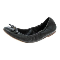 Louis Vuitton Grey Monogram Leather Bow Scrunch Ballet Flats Size 37.5
