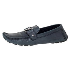 Louis Vuitton Grey Nubuck Leather Monte Carlo Slip On Loafers Size 43