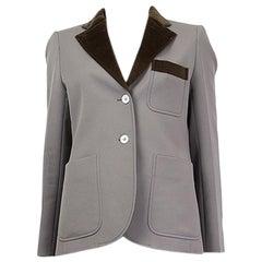 LOUIS VUITTON grey & olive green VELVET COLLAR Blazer Jacket 38 S