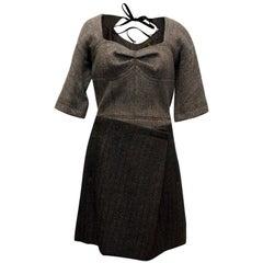 Louis Vuitton Grey Short Sleeved Dress S