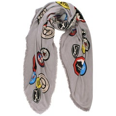 Louis Vuitton Grey Silk & Wool Limited Edition World Tour Scarf