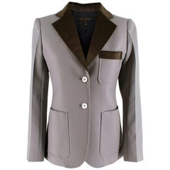 Louis Vuitton Grey Tailored Jacket with Velvet Trim - Size US 4