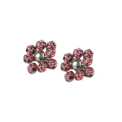 Louis Vuitton Gunmetal 1001 Nuits Crystal Clip On Earrings