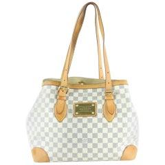 Louis Vuitton Hampstead  Mm Tote 233002 White Coated Canvas Shoulder Bag