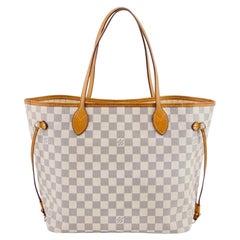Louis Vuitton Hand Bag Neverfull MM Tote Bag - Whites  Damier Azur SA 2151