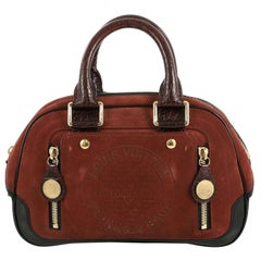 Louis Vuitton Havane Stamped Trunk Bowler Bag Suede PM