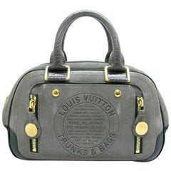 Louis Vuitton Havane Stamped Trunk Bowler Pm 224705 Gray Suede Leather Satchel