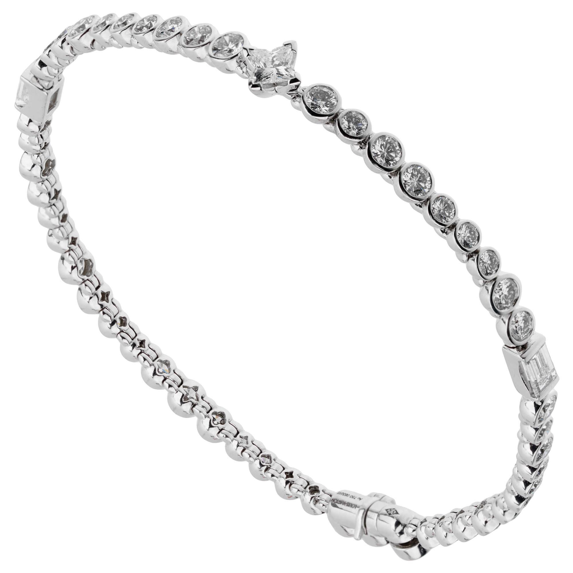 Louis Vuitton High Jewelry Diamond White Gold Tennis Bracelet