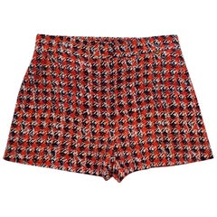 Louis Vuitton High Waist Silk Houndstooth Print Shorts Designer XS 36