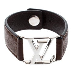 Louis Vuitton Hockenheim Brown Leather Silver Tone Bracelet
