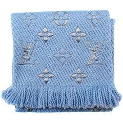 Louis Vuitton Ice Blue Wool & Silk Blend Logomania Shine Scarf