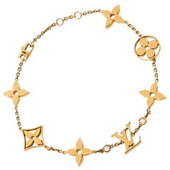 Louis Vuitton Idylle Blossom Monogram Diamond 18K Yellow Gold Station Bracelet