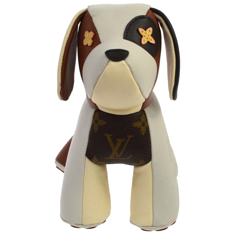Louis Vuitton Ivory Brown Monogram Canvas Leather Toy Novelty Puppy Pet in Box  For Sale