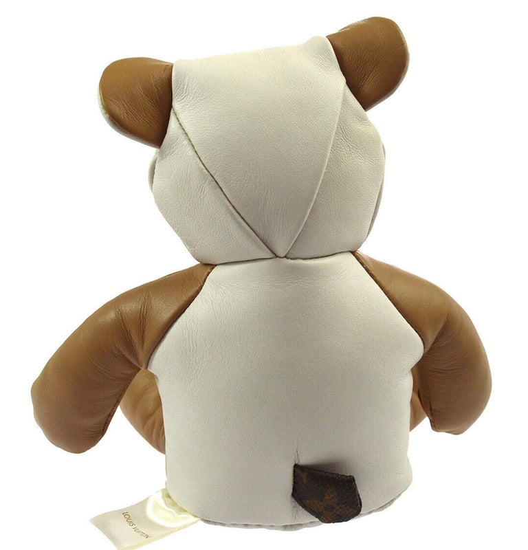 White Louis Vuitton Ivory Brown Monogram Canvas Leather Toy Novelty Teddy Bear For Sale