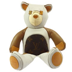 Louis Vuitton Ivory Brown Monogram Canvas Leather Toy Novelty Teddy Bear