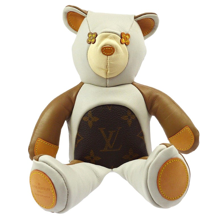 Louis Vuitton Ivory Brown Monogram Canvas Leather Toy Novelty Teddy Bear For Sale