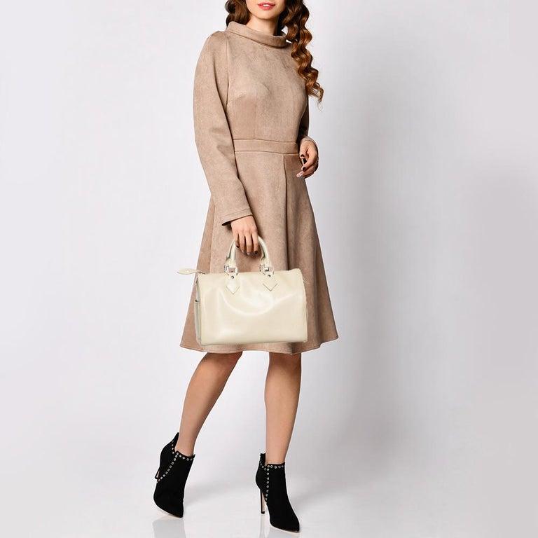 Beige Louis Vuitton Ivory Epi Leather Speedy 25 For Sale