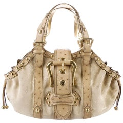 Louis Vuitton Ivory Suede Ostrich Skin Monogram Bag