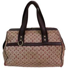 Louis Vuitton Josephine Gm Bowler Boston 870577 Red Mini Lin Canvas Satchel
