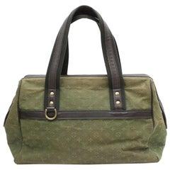 48f413441251 Louis Vuitton Josephine Khaki Monogram Mini Lin Gm Large Boston 870043  Green Can