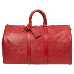 Louis Vuitton Keepall 45 Bag In Red Epi Leather