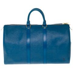 Louis Vuitton Keepall 45 Travel bag in blue épi leather