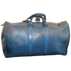 Louis Vuitton Keepall 50 Bag In Blue Epi Leather