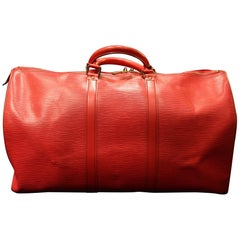 Louis Vuitton Keepall 50 Bag  In Red Epi Leather