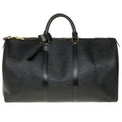 Louis Vuitton Keepall 50 Travel bag in black épi leather