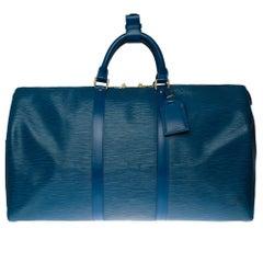 Louis Vuitton Keepall 50 Travel bag in blue épi leather