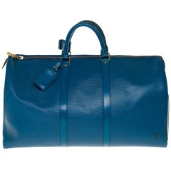 Louis Vuitton Keepall 50 Travel bag in Blue épi leather, GHW
